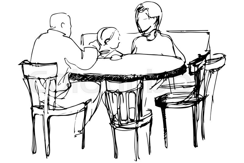 800x533 Black And White Vector Sketch Of Father And Mother With Her