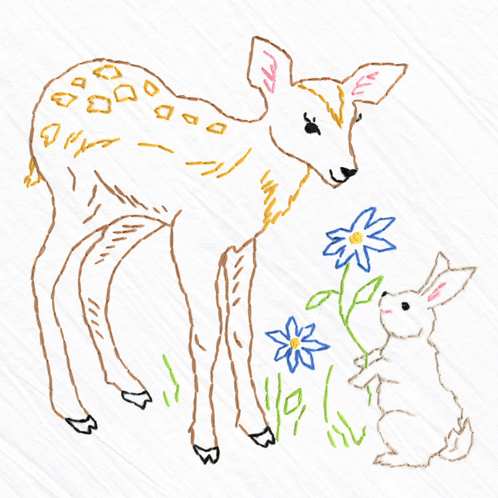 1000x1000 Deer Amp Bunny Tea Towel Embroidery Kit, Beginner Embroidery Kit