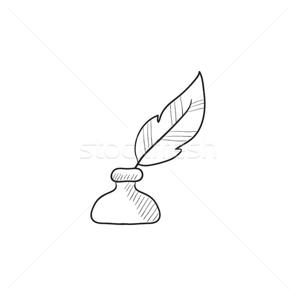 600x600 Feather In Inkwell Sketch Icon. Vector Illustration Andrei