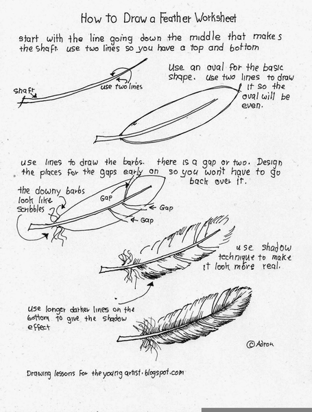 455x600 Feather Drawing Tutorial Alaskainpictures