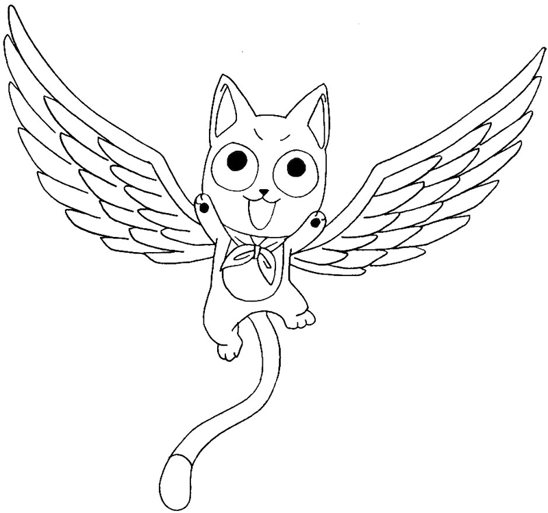 800x749 How To Draw Exceed Happy From Fairy Tail With Easy Anime Step By