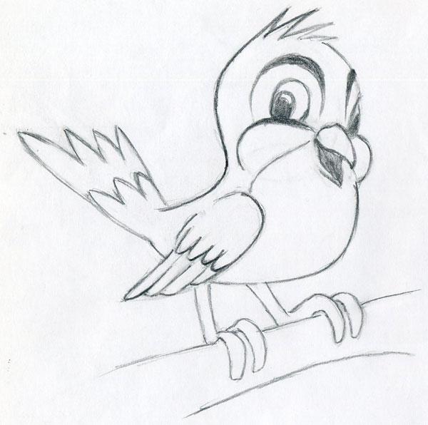 600x596 Learn To Draw Cartoon Bird Very Simple, In Few Easy Steps.