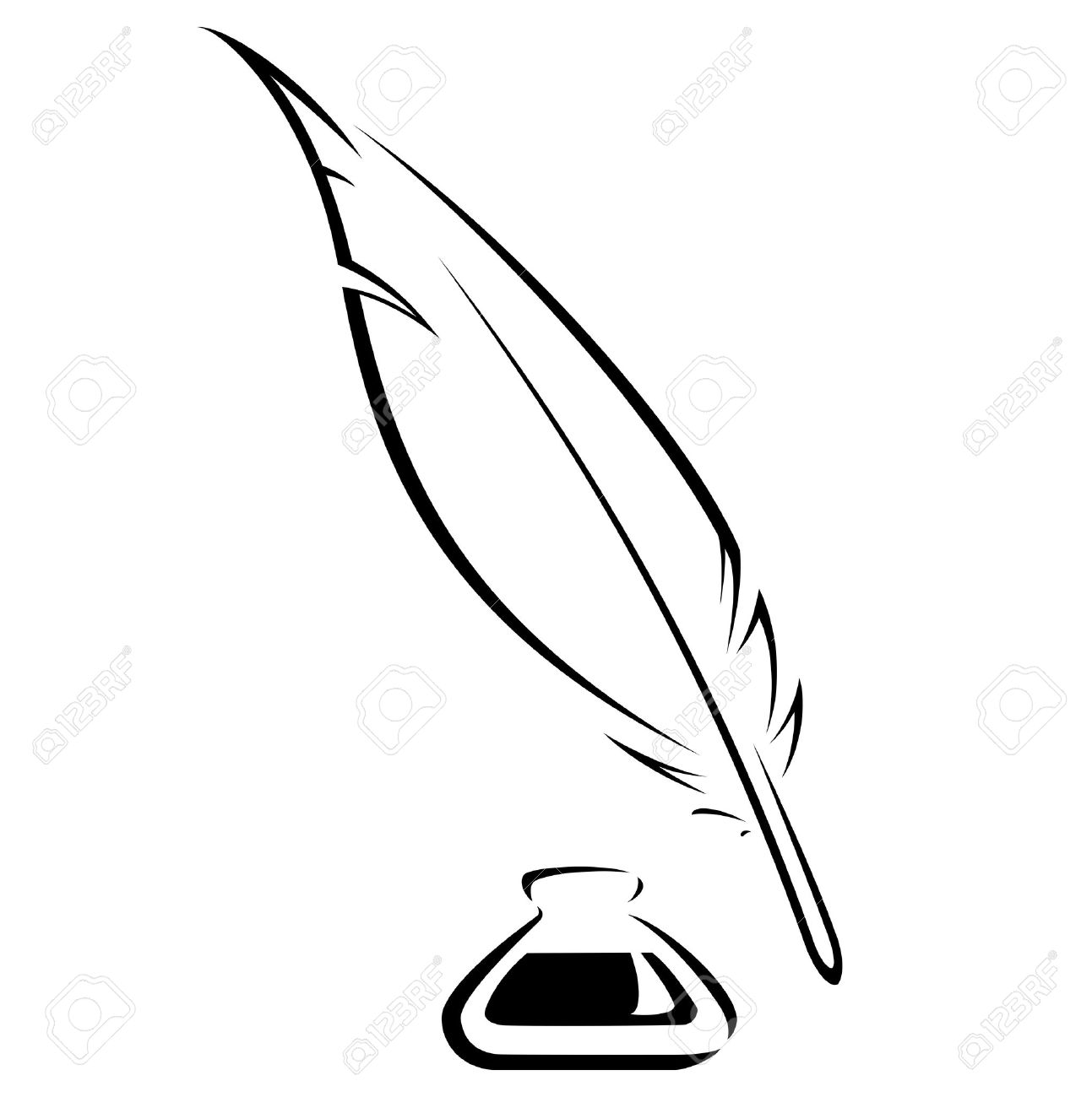 1293x1300 Simple Quill And Inkwell Black Vector Image Stock Photo, Picture