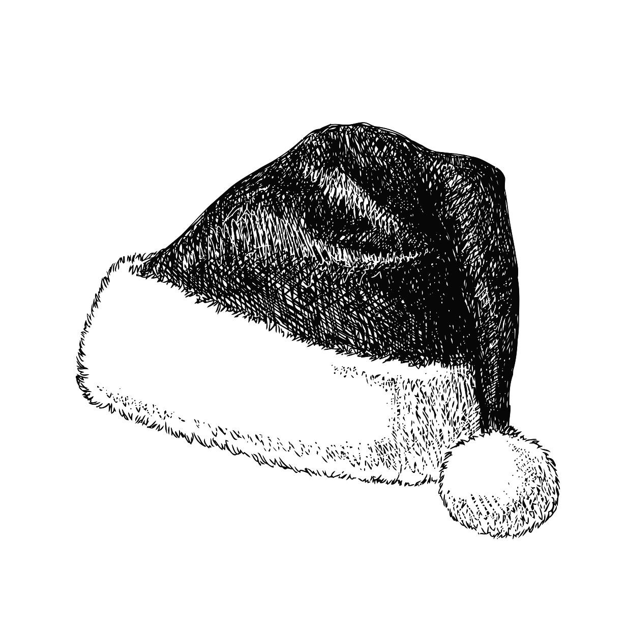 1235x1235 Santa Hat Drawing Printable Image Illustration Sketch For Santa