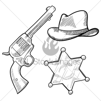 325x325 Fedora Or Cowboy Hat Sketch Gl Stock Images