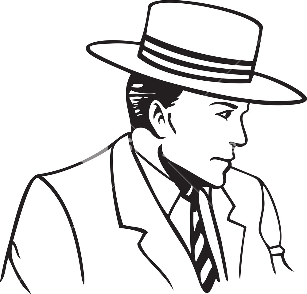 1000x959 Illustration Of A Man With Hat. Royalty Free Stock Image