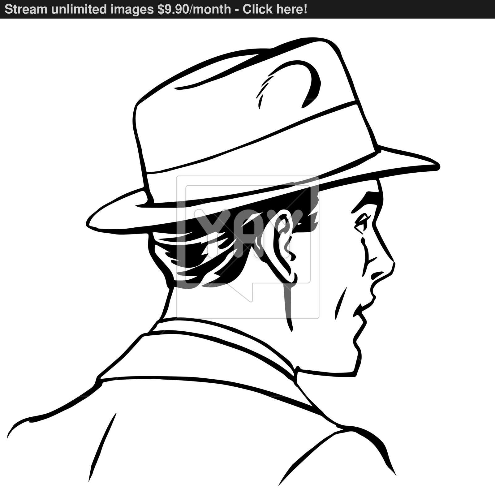 1600x1600 Man Hat Profile Line Art Vector