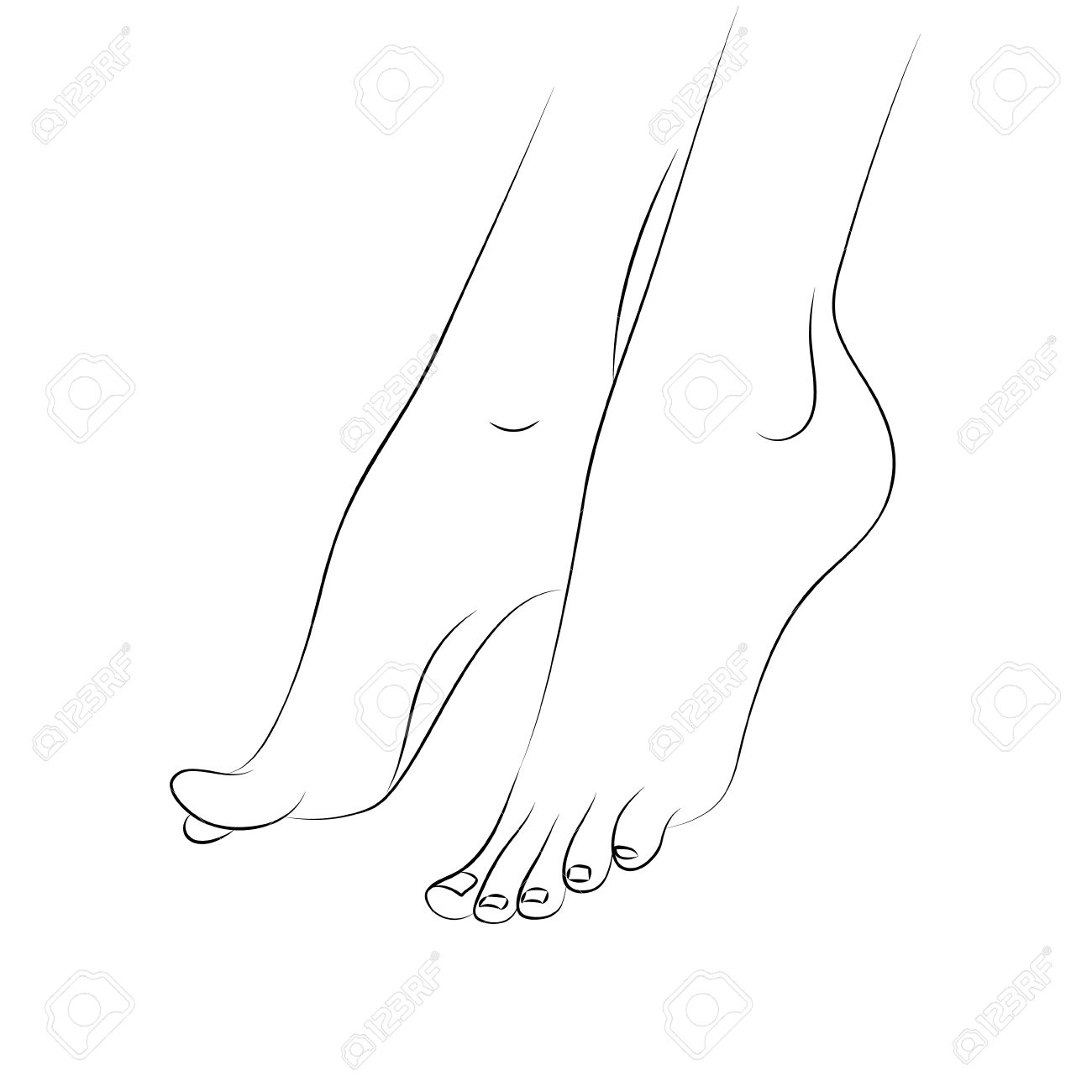 1300x1300 Woman's Feet Outline Vector Isolated On White Background. Pedicure
