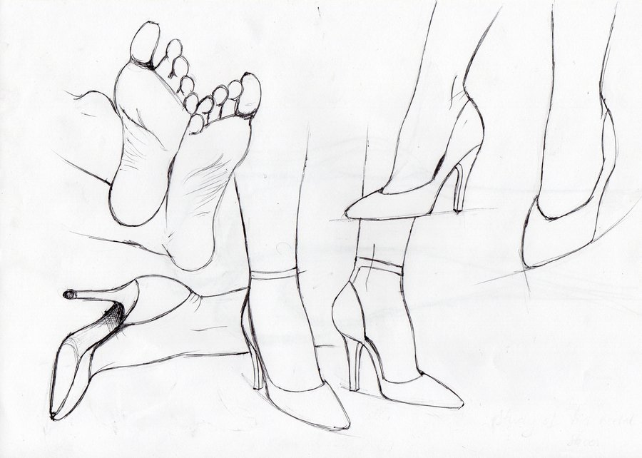 900x642 Feet In High Heels Sketch By Beatreen