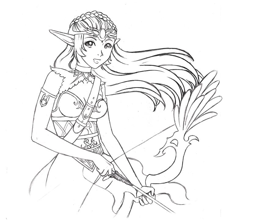 900x720 Belen The Archer Sketch By Chibi Narusegawa