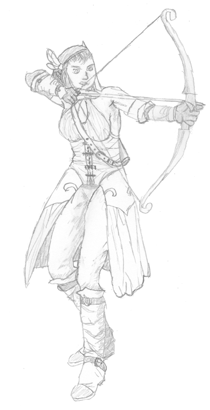 410x800 Female Archer (Sketch) By Ankle