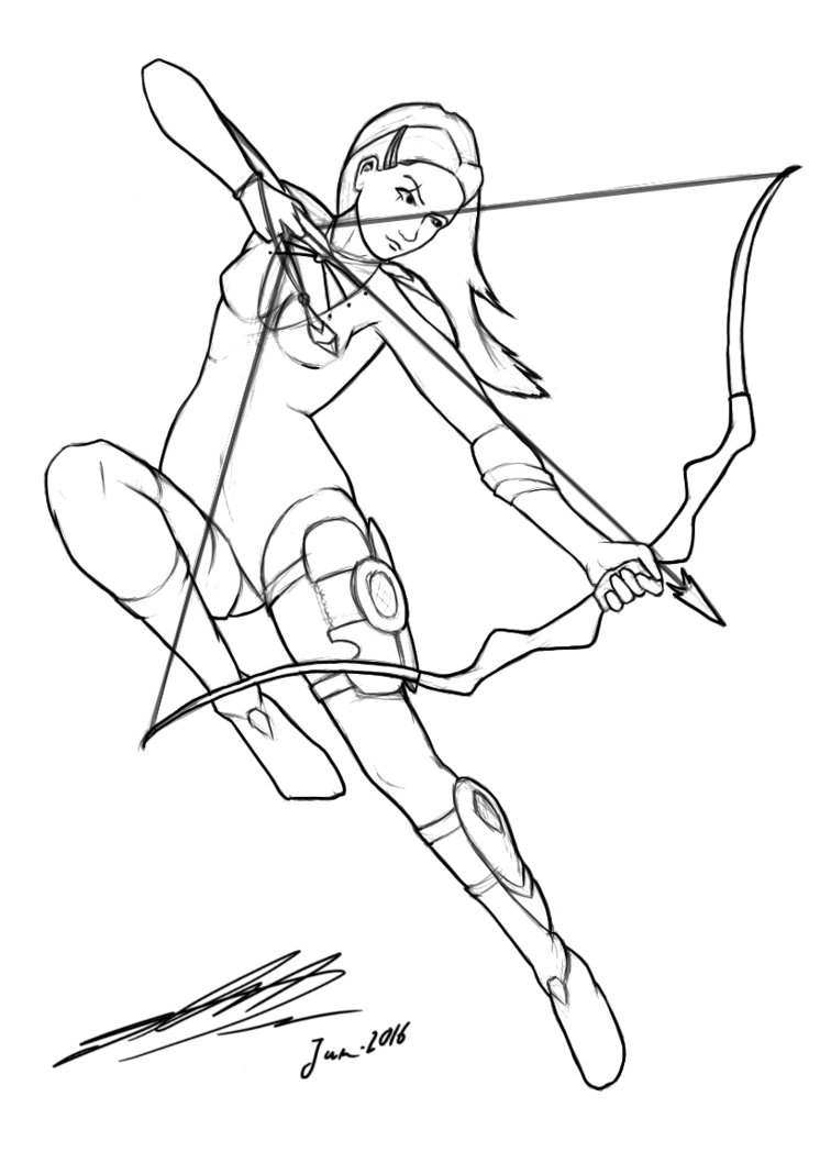 756x1058 Female Archer Design Lineart By Kaito85