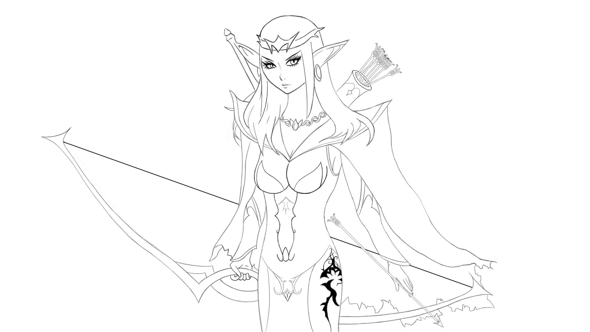 1920x1080 Female Archer Elf By Masterofdragons9