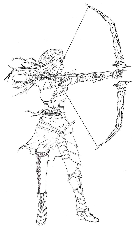 900x1500 Female Archer Lineart By Rtsxtt