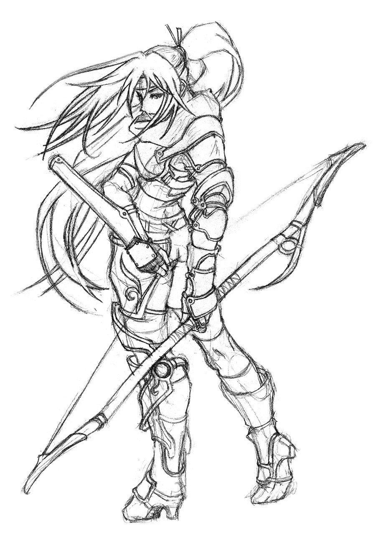 936x1324 Female Archer By Uchidab