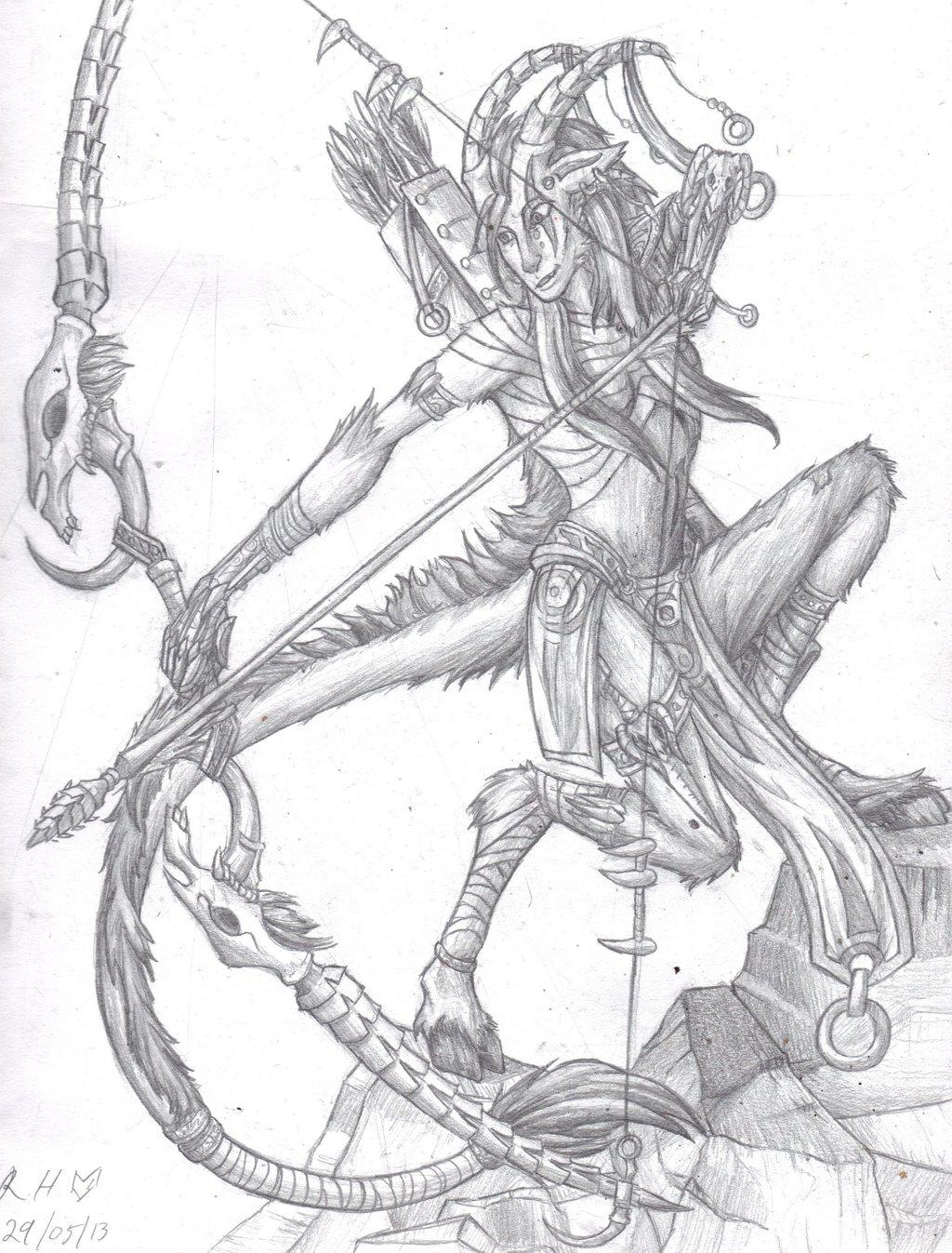 1024x1347 Female Minotaur Archer By Kanoro Studio
