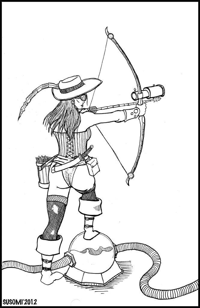 666x1024 Female Steampunk Archer By Susomi