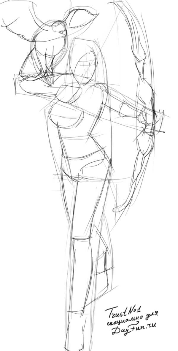 600x1183 How To Draw An Archer Step By Step