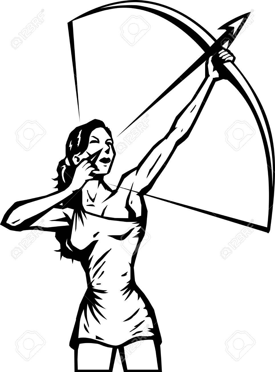 964x1300 Stylized Female Archer Royalty Free Cliparts, Vectors, And Stock