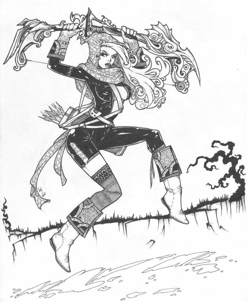 809x988 Female Archer By Jay Ecnal