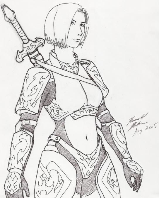 543x675 Female Knight Armor Drawing
