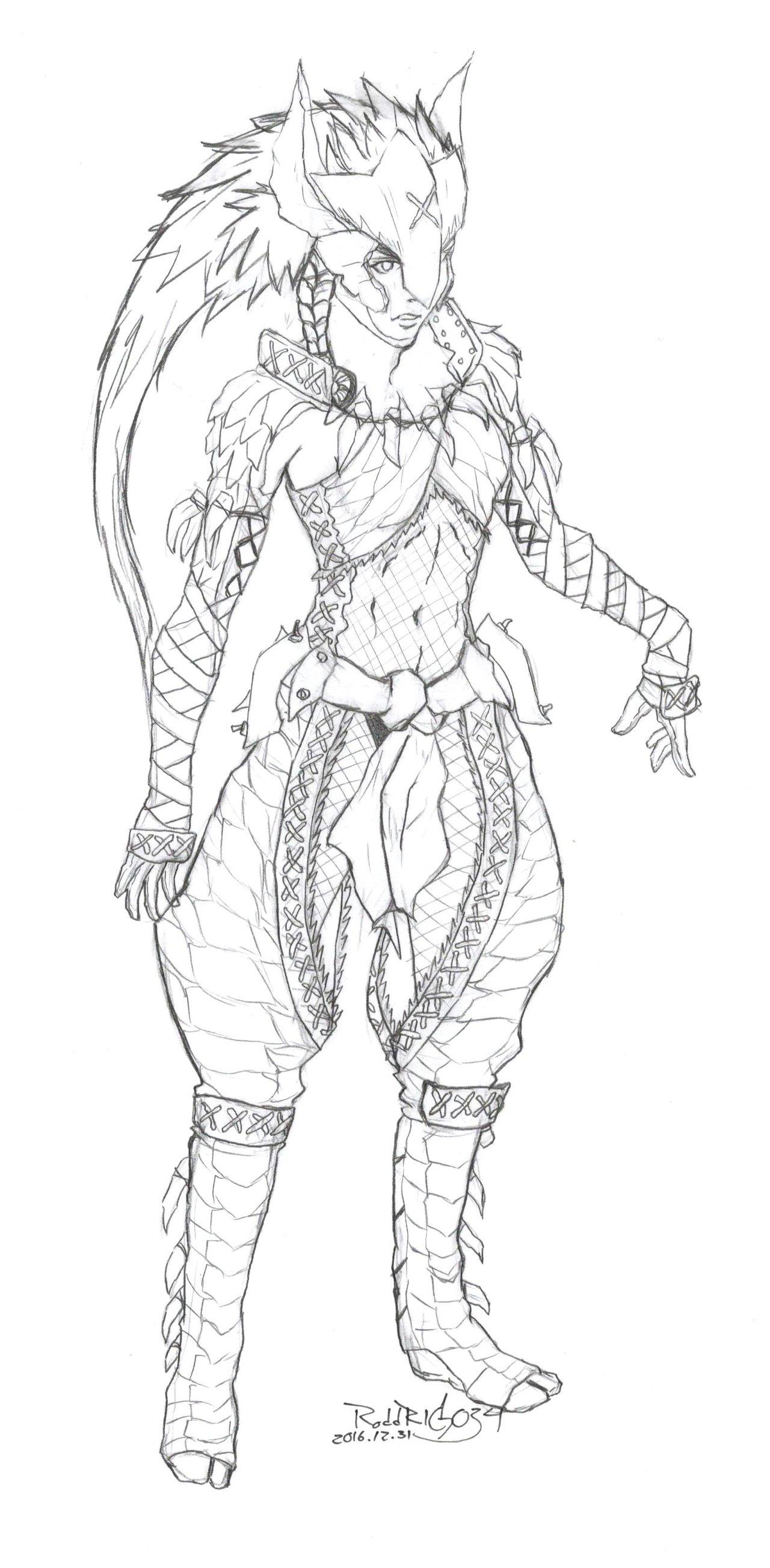 1280x2607 Nargacuga Armor Female, Boceto. By Roddrigo34