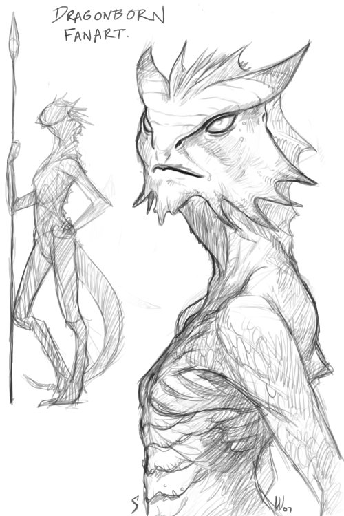 500x750 Quickie Dragonborn Sketch Google, Characters And Searching
