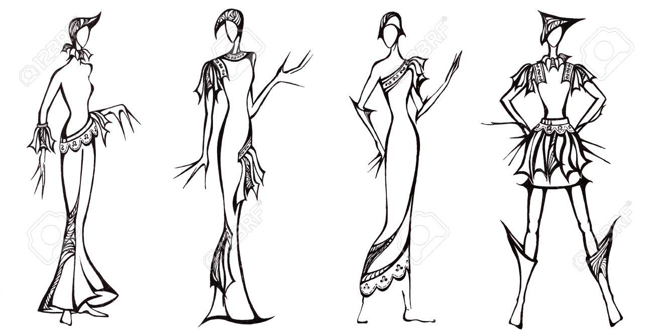1300x665 Sketch Of Fashion Model