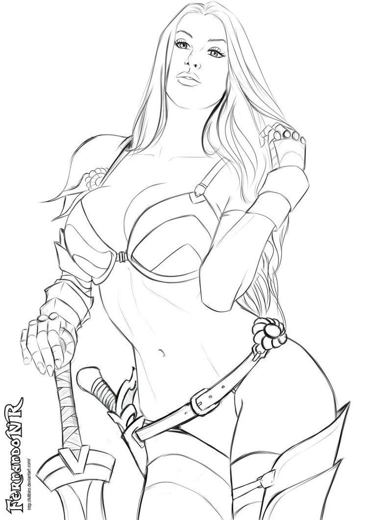 755x1059 Warrior Girl 3 Sketch