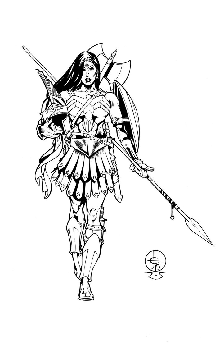 722x1107 Wonder Woman Battle Armor Design Drawing ~ Inked By Ray Snyder