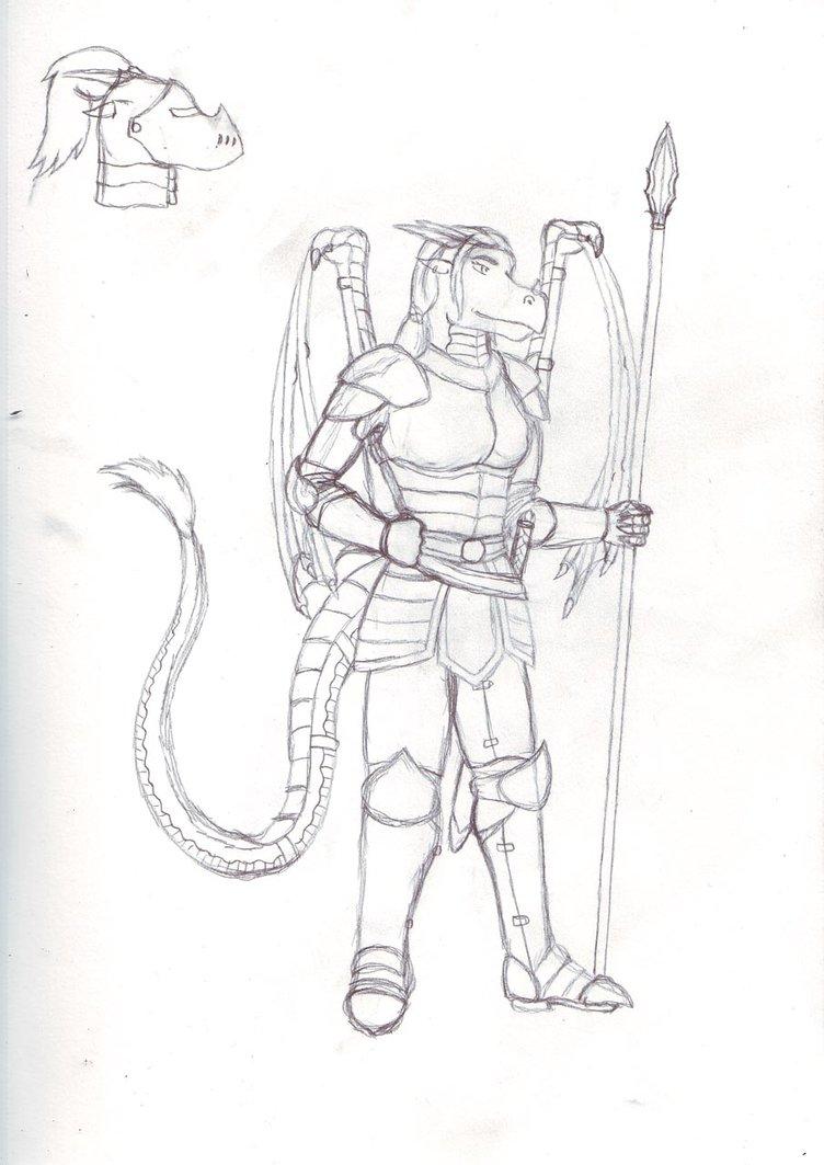 752x1063 Dragon Female Armor Sketch By Razenhashikado