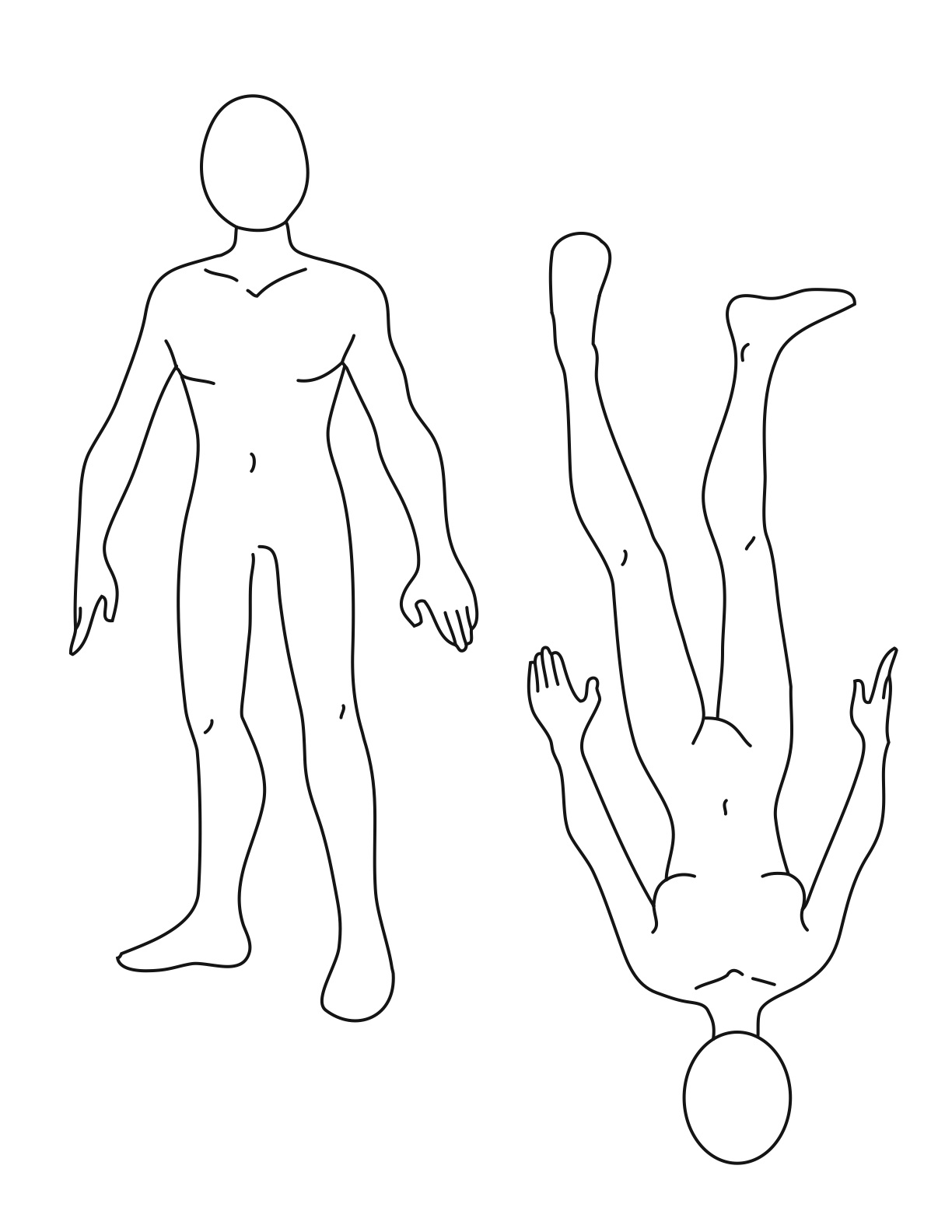 1224x1584 Normal Female Body Drawing Template Clipart