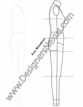 316x409 Full Body Female Dress Form Fashion Template Sketch V6 Side View