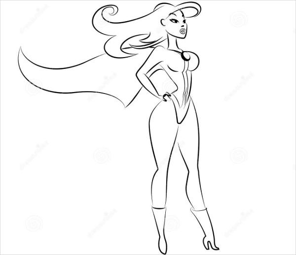 600x518 9+ Superhero Drawings