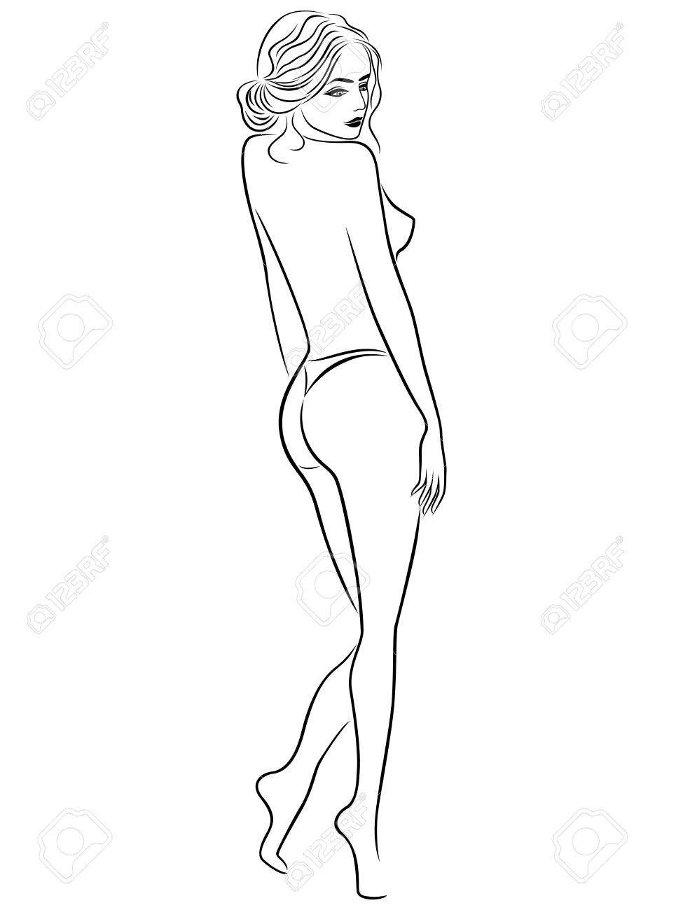 975x1300 Abstract Vector Outline Of Young Beautiful Women With Graceful