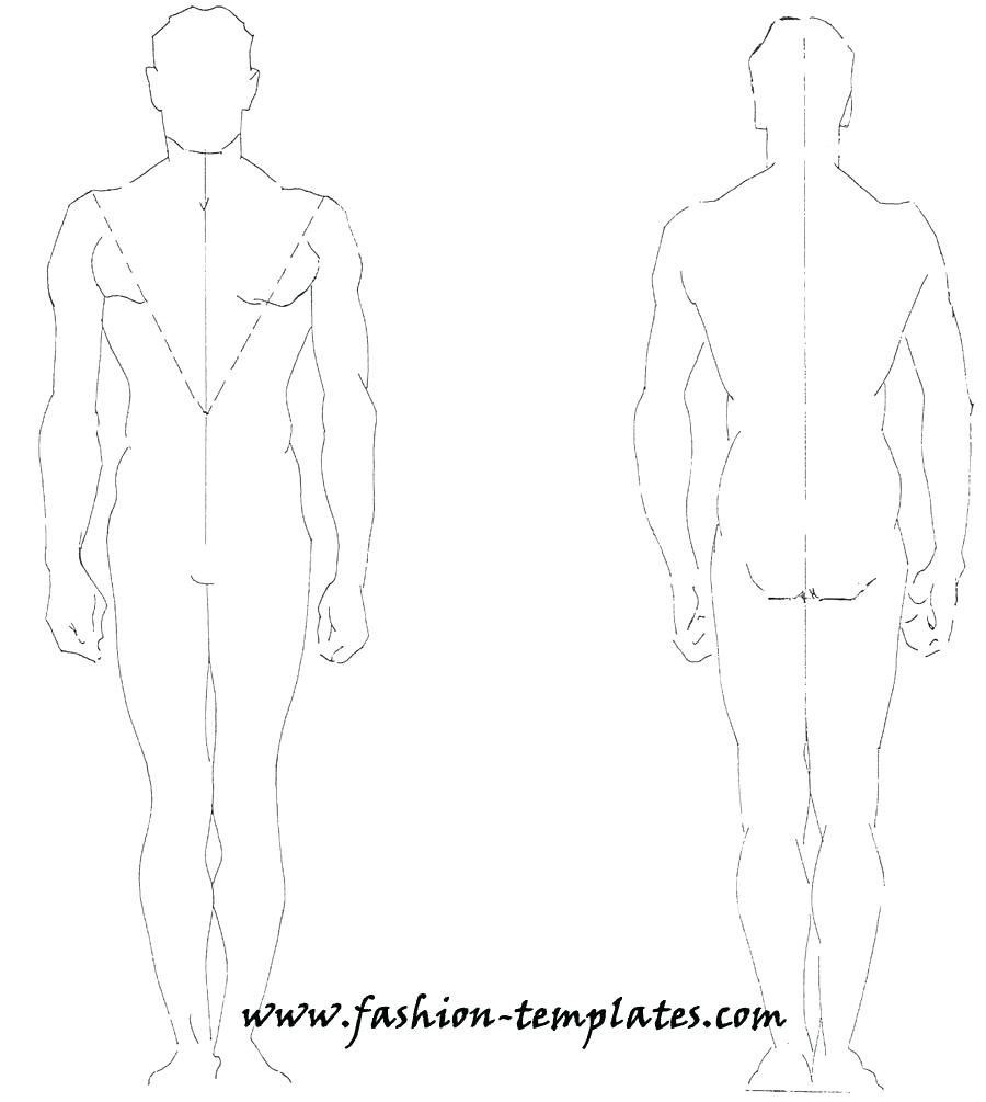 900x1005 Male Body Drawing Template