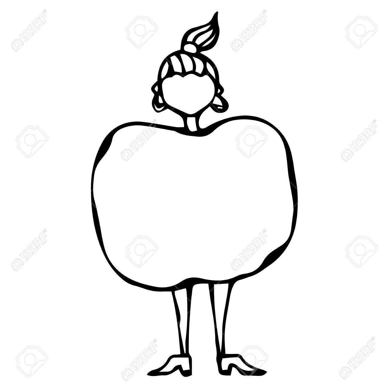 1300x1300 Caricature Apple Female Body Shape Sketch. Hand Drawn Vector