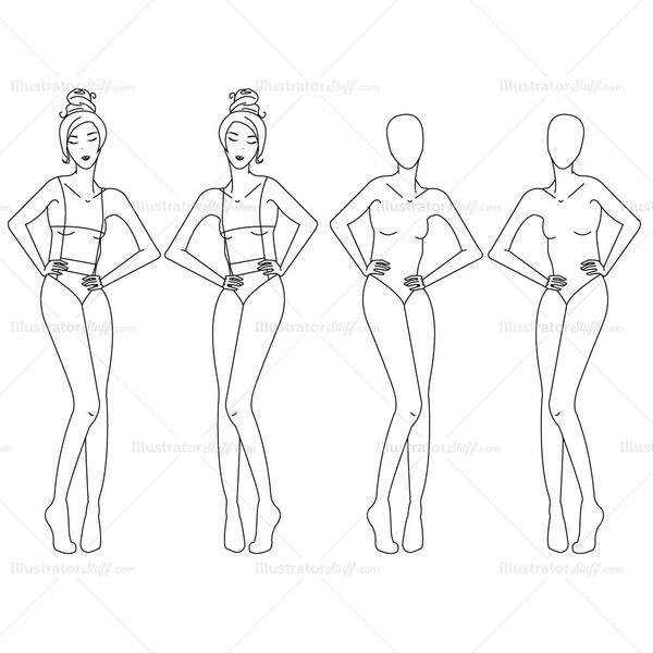 600x600 Female Fashion Croquis Template Illustrator Stuff