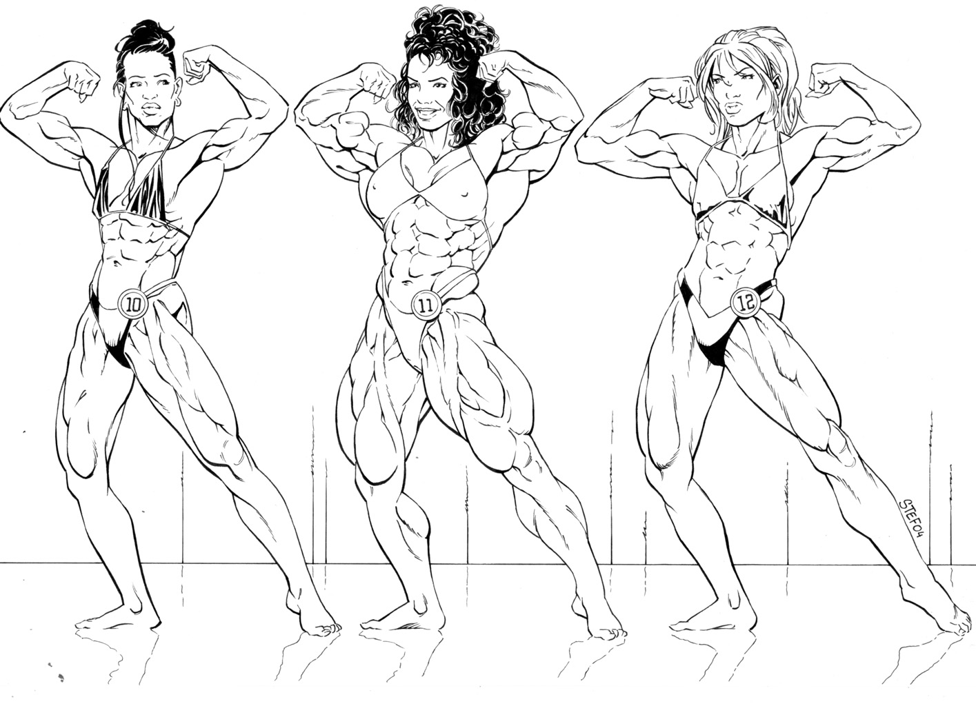 Drawings of women bodybuilders you