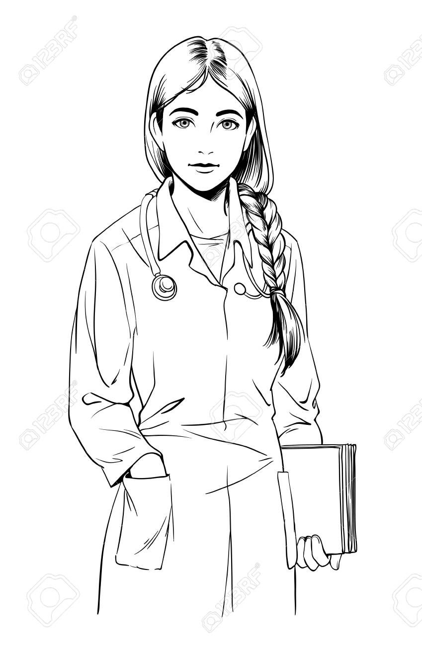 Line Drawing Nurse : Female doctor drawing at getdrawings free for