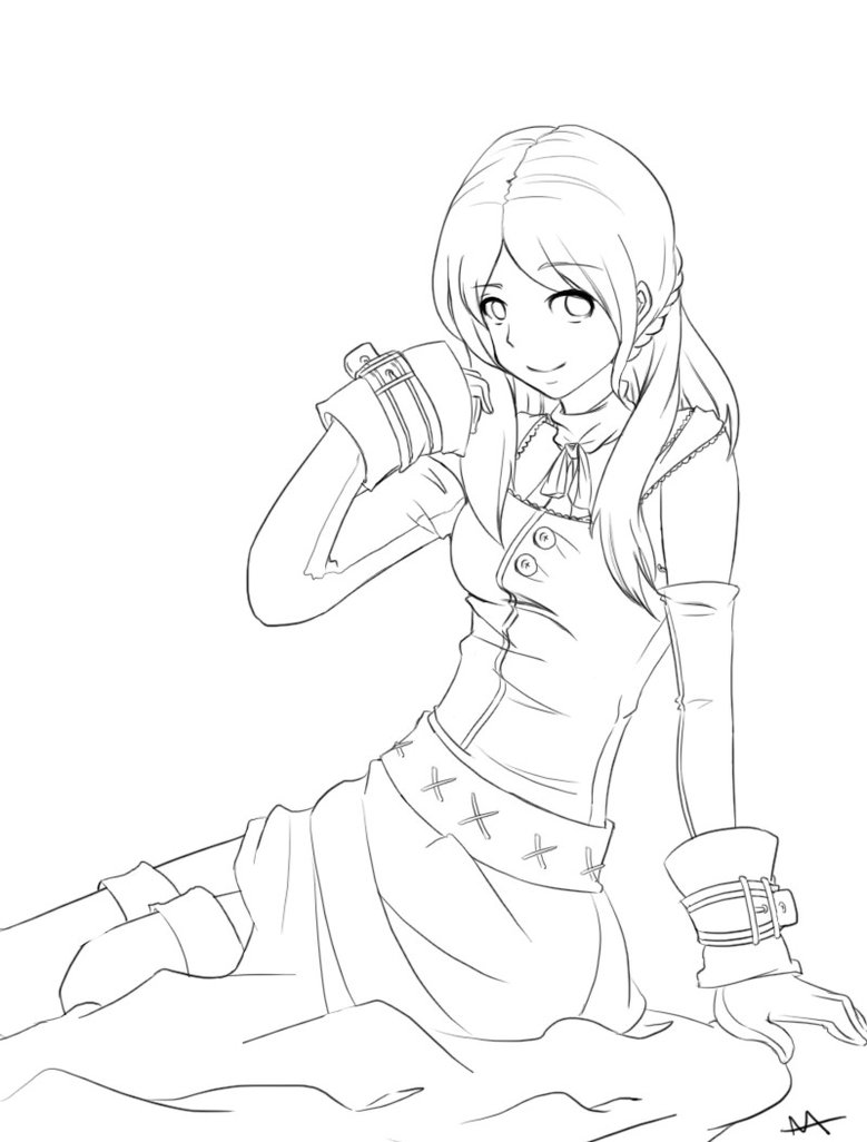 779x1026 Anime Girl Outline By Megamooni