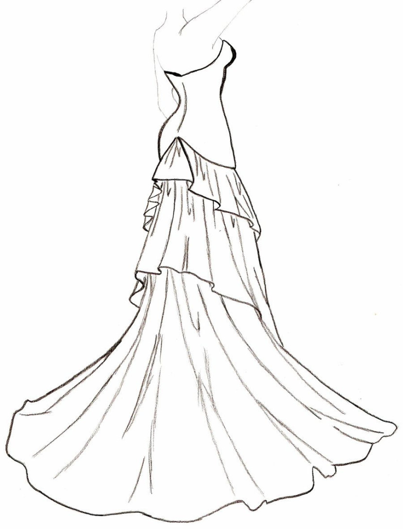 830x1089 Drawn Gown Outline Drawing