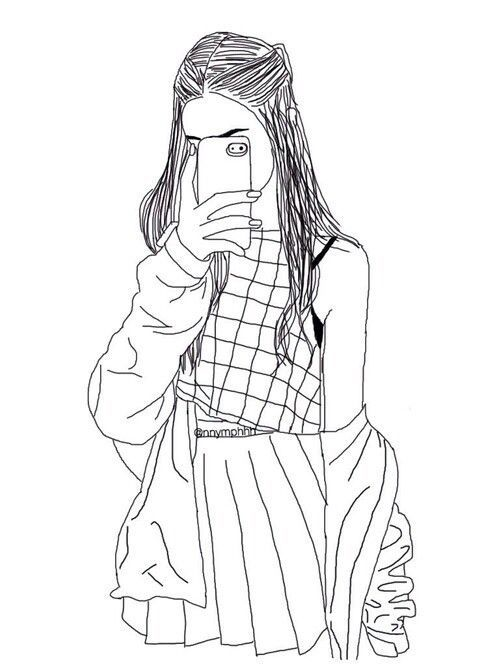 500x667 Hipster Girl Drawing Outline Cool Shit Girl
