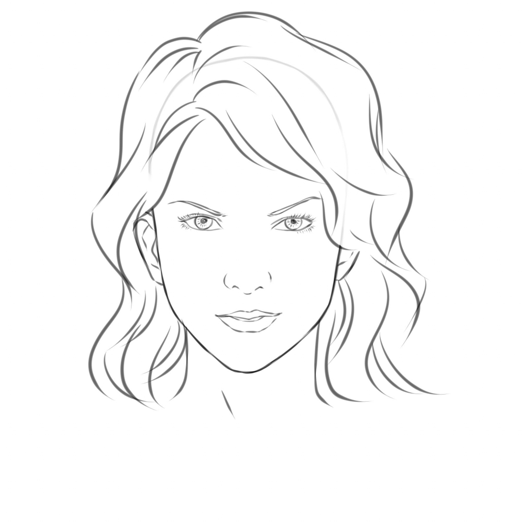 1024x1024 Outlines Draw In Face Face Drawing Outline Woman Face Drawing