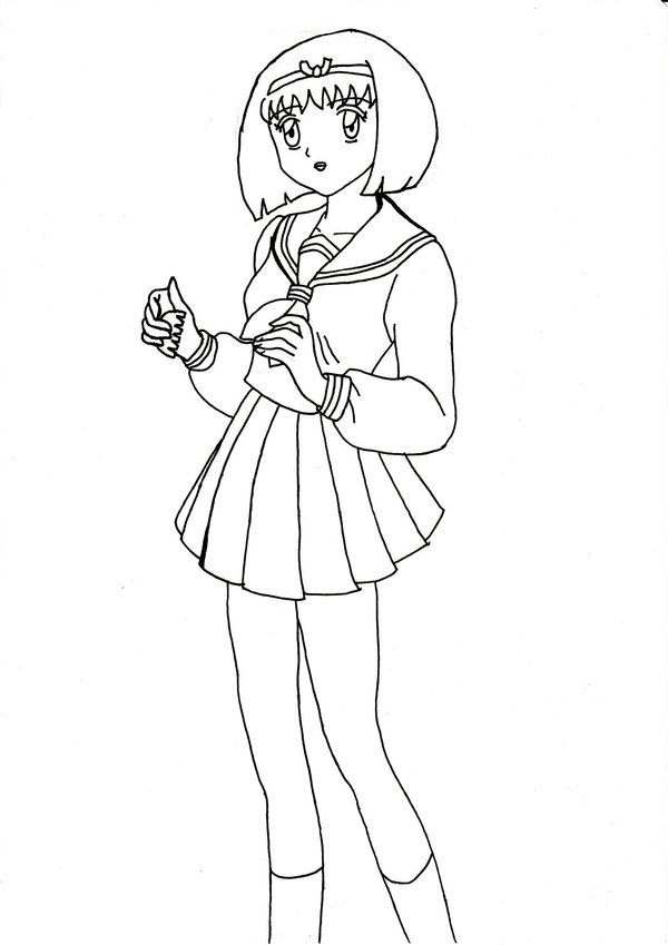 600x849 School Girl Yura Outline By Chrissy Hime