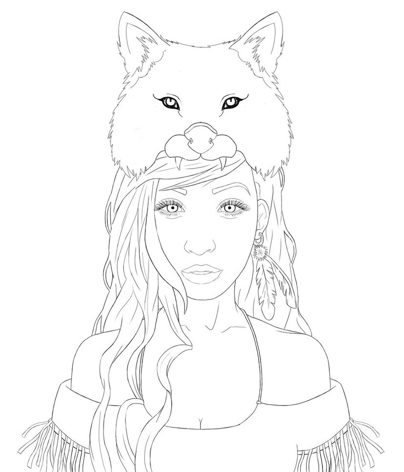 828x966 Wolf Girl Outline By Joelbear49