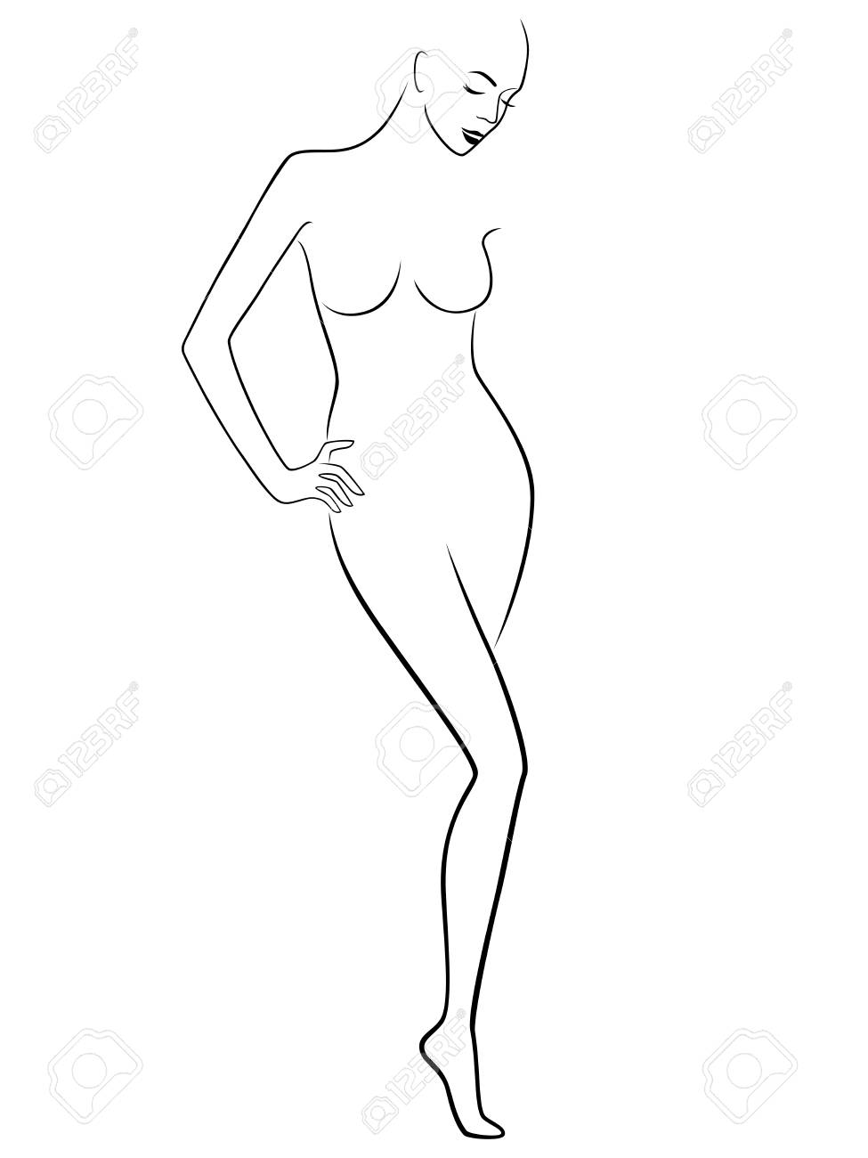 975x1300 Abstract Graceful Sender Female Figure, Hand Drawing Vector