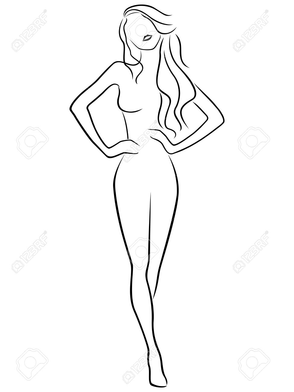 975x1300 Abstract Slender Posing Girl Hand Drawing Vector Outline Royalty