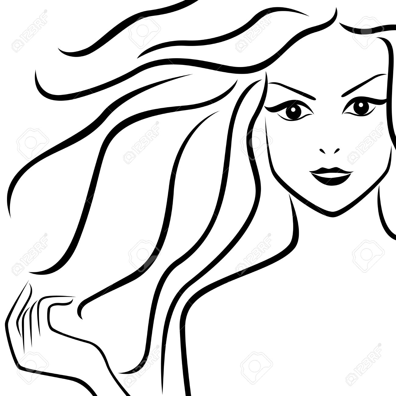 1300x1300 Abstract Portrait Of Beautiful Girl With Flowing Hair, Hand
