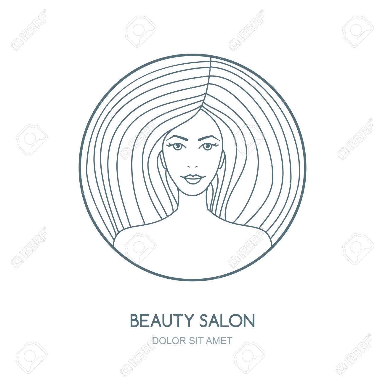 1300x1300 Outline Vector Illustration Of Woman. Vector Logo, Badge, Label